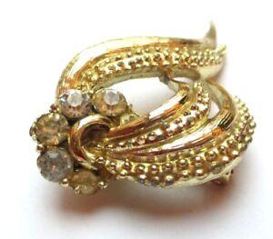 Belle Broche Bijou Vintage Couleur Or Cristaux Diamant Bijou Vintage 2093