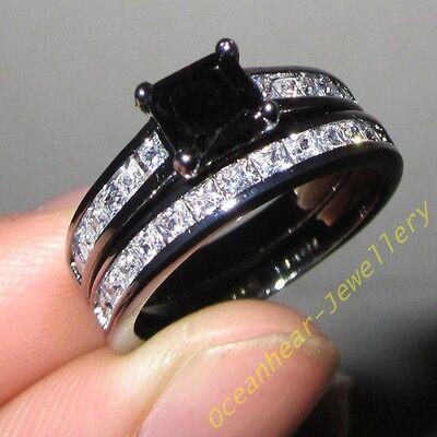 Sz 6-11 Womens Mens Jewelry Black/White Sapphire 18k Black Gold Filled Ring Set