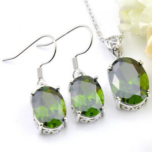 Best-Price-Oval-Cut-Emerald-Topaz-gemstone-Silver-Necklace-Pendant-Earrings-SET
