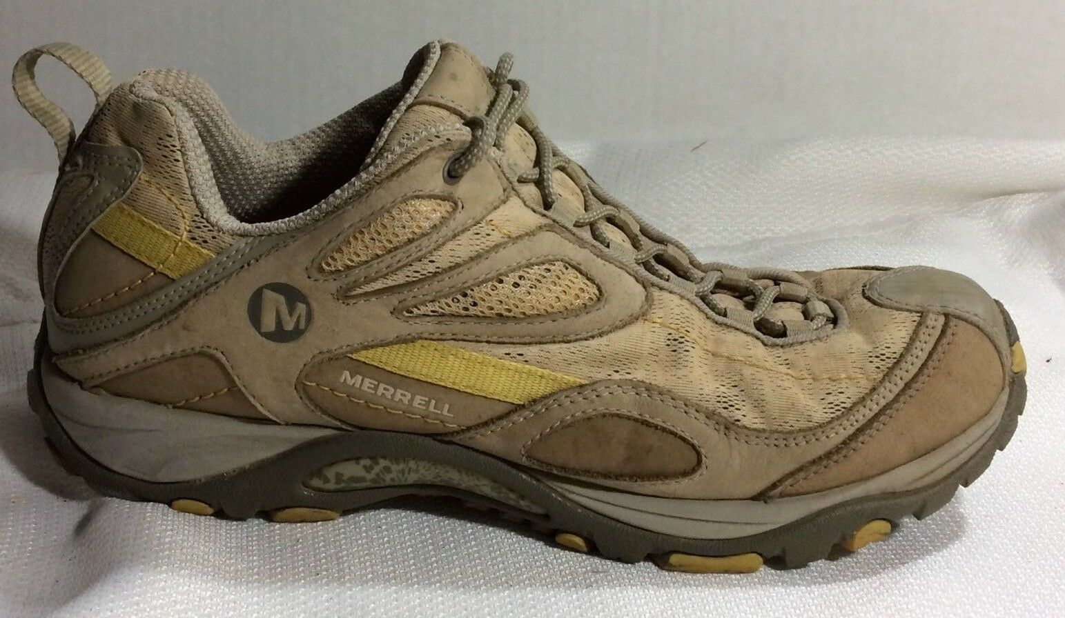 Merrell Siren Sync Womens 9 Med Taupe Leather Hiking Trail Sneakers shoes Vibram