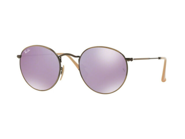 bc3af49e51 Ray-Ban Lilac Mirror Round Flash Lenses Unisex Sunglasses - Rb3447 167 4k 50