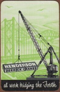 Playing-Cards-1-Single-Card-Old-Henderson-DERRICK-CRANE-Building-Advertising-Art