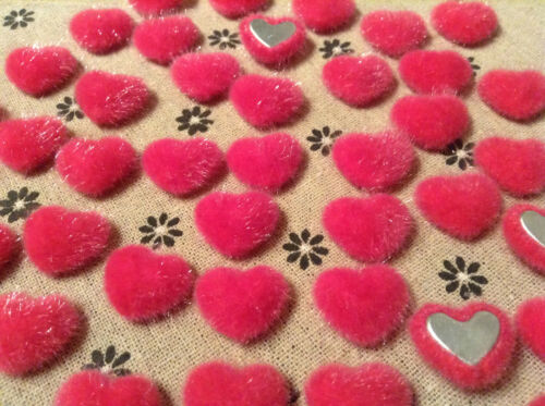 PINK flat back 18 mm fabric covered button craft FUR HEART BUTTONS