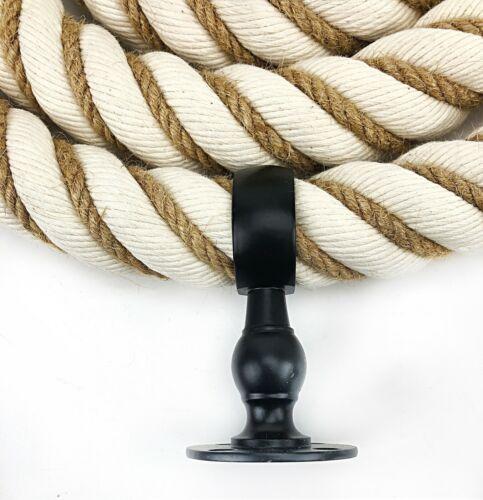 24 mm NATURAL vermifugés coton Bannister Rampe Corde X 12 Ft environ 3.66 m c//w 4 Noir Accessoires