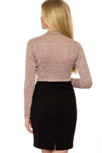 Womens knitted Long Sleeve Polo Neck Twist Front Crop Top Midi Skirt Co-Ord Set