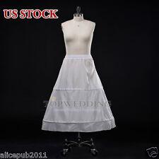 White 2 Hoop Ball Gown Nylon Bridal Petticoat Wedding Dress Crinoline Skirt Slip