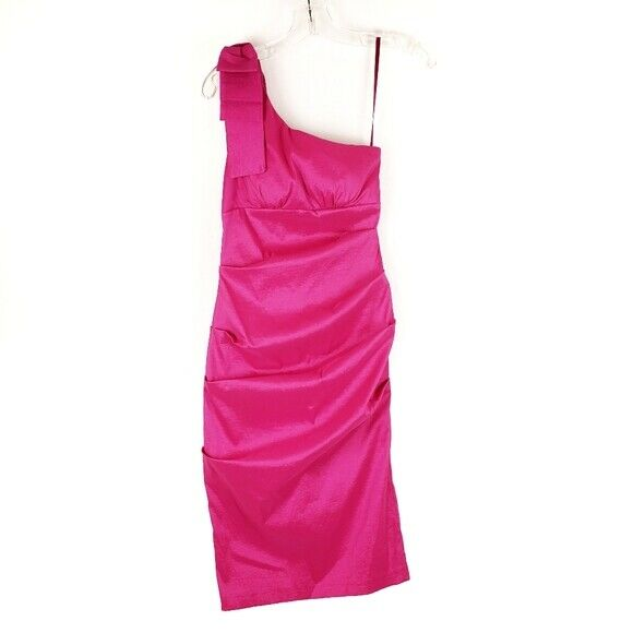 CACHE Pink One Shoulder Bow Formal Dress women size 6