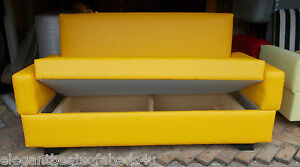 Small Bright Yellow Sofa Bed 120cm 2 Seater Storage Faux