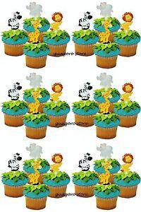 Jungle Safari NOAHS Cupcake Picks 24 Animal Cake Toppers Birthday
