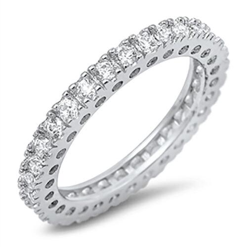 Sterling Silver CZ Women/'s Bridal Anniversary Eternity Wedding Band Ring 5-10