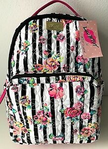 36cbb757f4 Luv Betsey Johnson Backpack Rose Bag Quilted Flowers Stripes Black ...