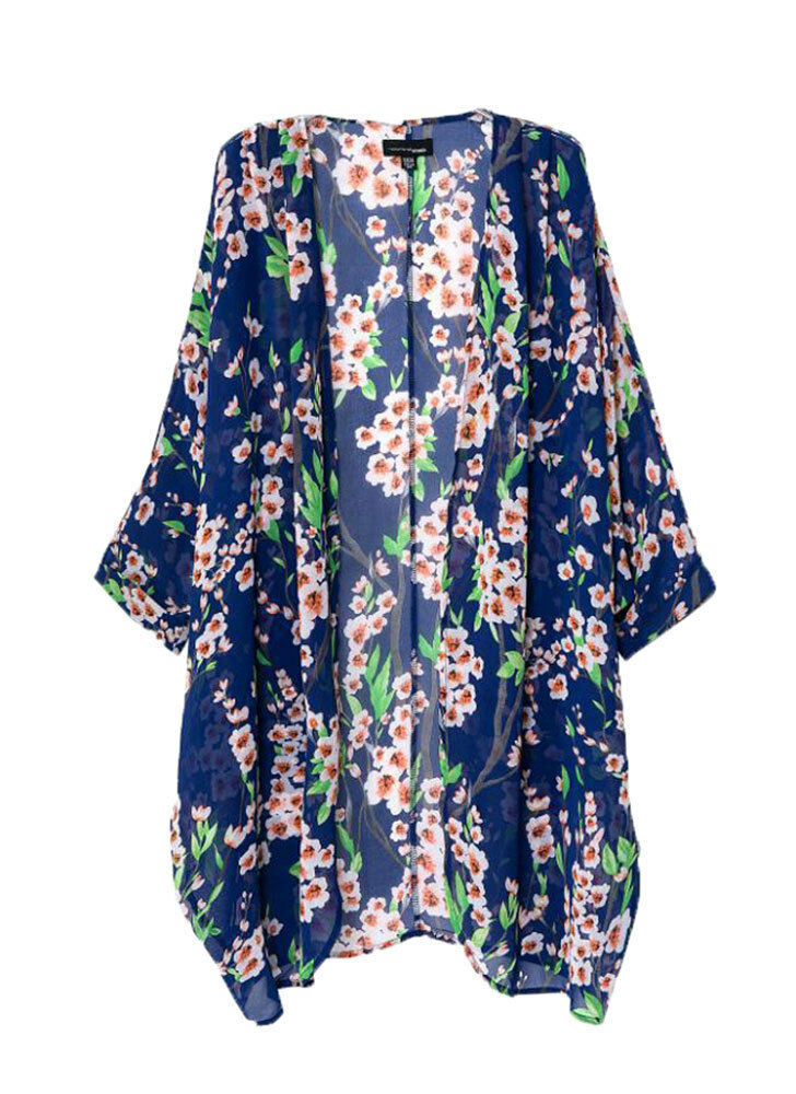 femme vintage floral long en vrac cardigan kimono blouses par o plage haut ebay. Black Bedroom Furniture Sets. Home Design Ideas