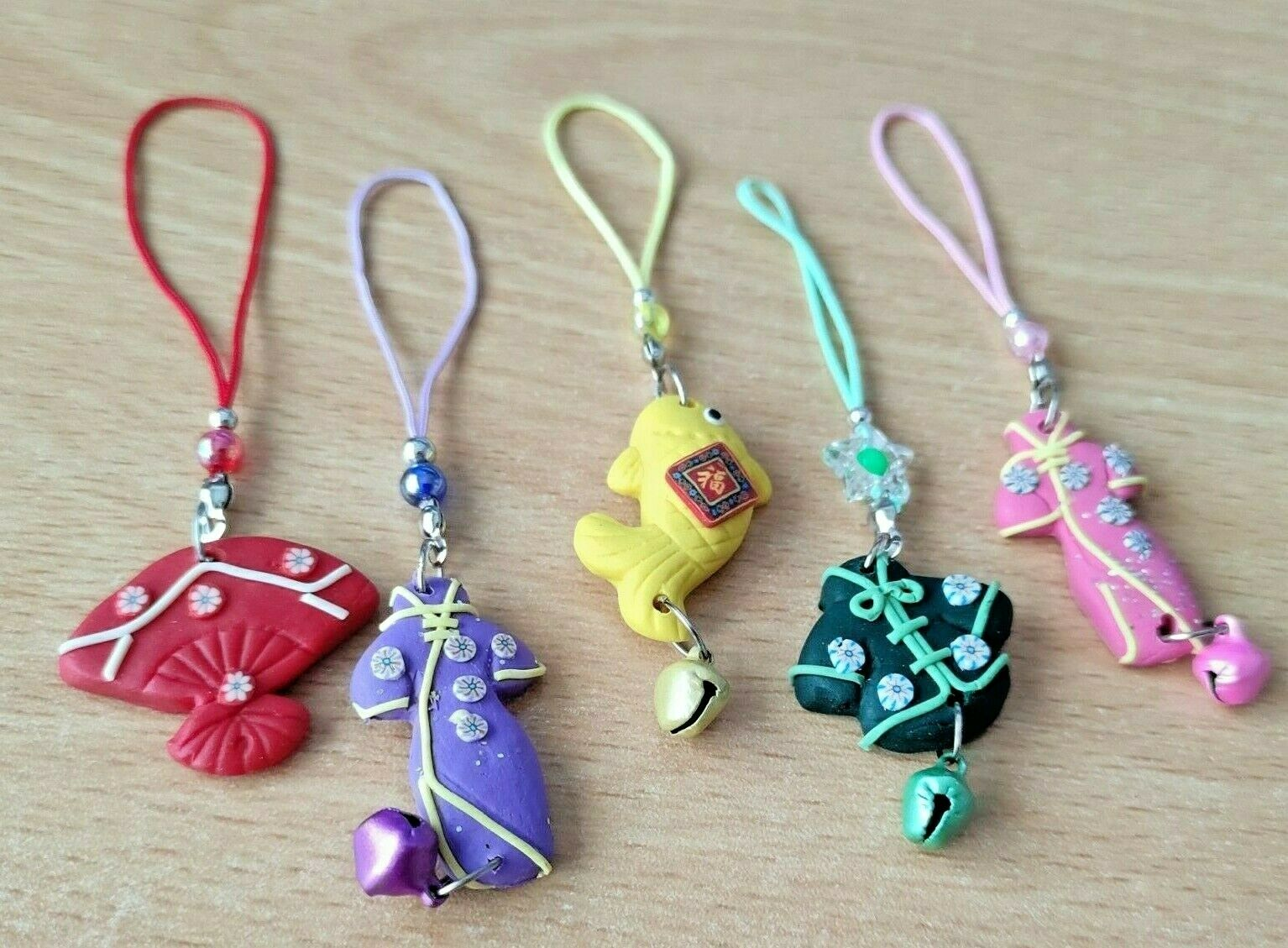 2x Oriental mobile cell phone handbag bag Charm Chinese