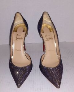 Image is loading Authentic-Christian-Louboutin-Iriza-100-Atlantic-Gold- Glitter- 81a4bdab2823