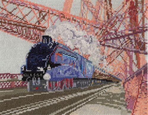 Mallard on Forth Bridge steam train counted cross stitch kit or chart 14s aida