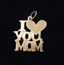 Estate Solid 14K Yellow Gold I Love You Mom Charm Pendant Jewelry 14KT No Scrap