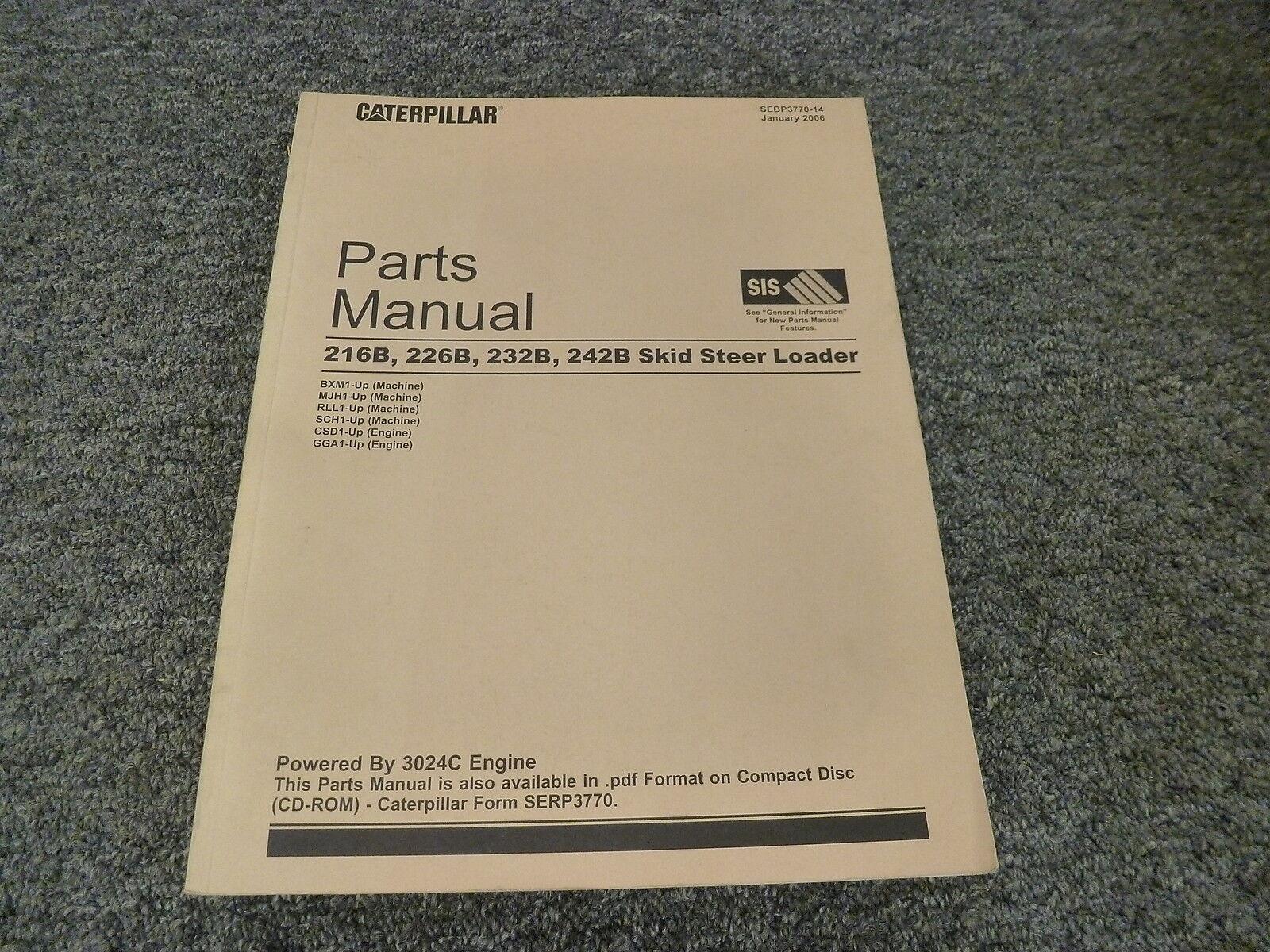 cat caterpillar 216b 226b 232b 242b parts manual book catalog skid rh ebay com Cat 232B2 Cat Skid Steer