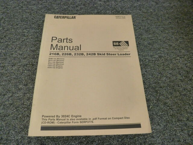 cat caterpillar 216b 226b 232b 242b parts manual book catalog skid rh ebay com Caterpillar M322D Caterpillar Brochure