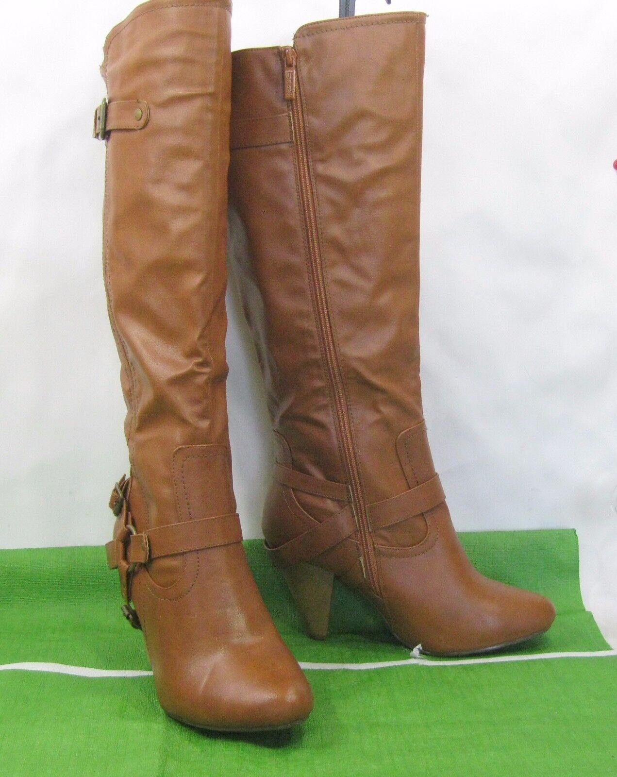 Ladies NEW TAN 4 high  heel round toe sexy knee Boots size  8.5