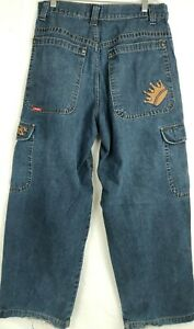 Men-039-s-Jnco-Baggy-Cargo-Jeans-Act-32x30-Blue-Crown-Logo-Vintage-90s-Tag-34x32