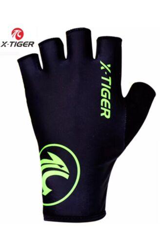 X-Tiger Tough moitié doigts Cyclisme Gants Noir//vert moyenne