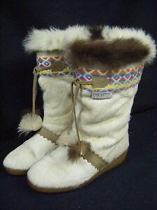 Tecnica-Vintage-Creme-Apre-Ski-Navajo-Hiver-Chevre-Fourrure-Boots-36-US-5-5