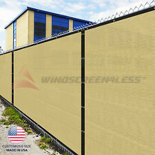 Customize Beige 4' 5' 6' 8' Tall Fence Privacy Wind Screen Mesh Fabric Shade