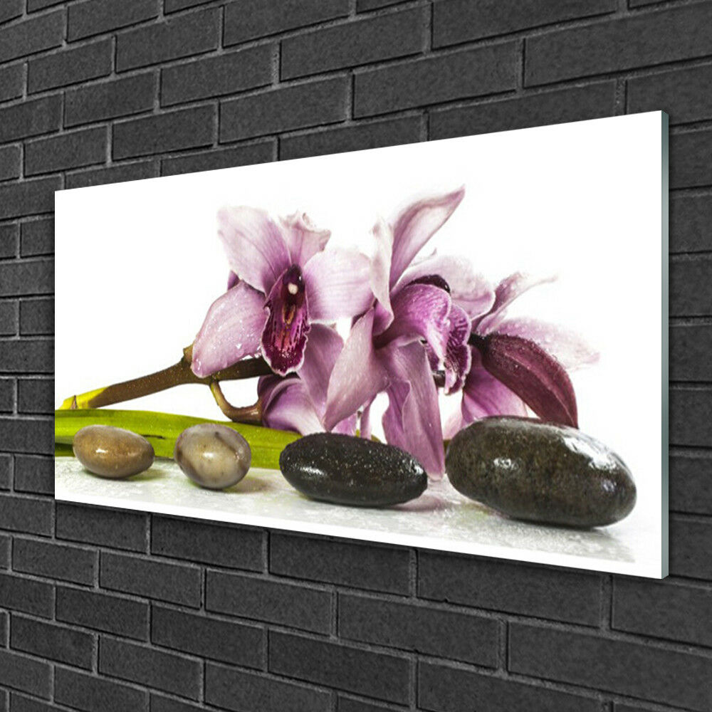 Glass print Wall art 100x50 Image Picture Flower Stones Floral Floral Floral 8b951c