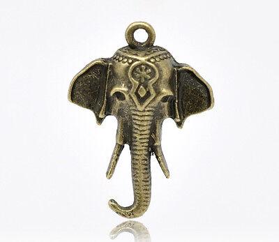 30 Bronzefarben Elefant Charms Anhänger 25x18mm