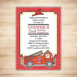 Fire Truck Birthday Party Invitation Digital Printable Pdf