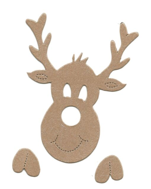 15 die cut Reindeer #2 3 pieces crosscuts assorted colours christmas card making