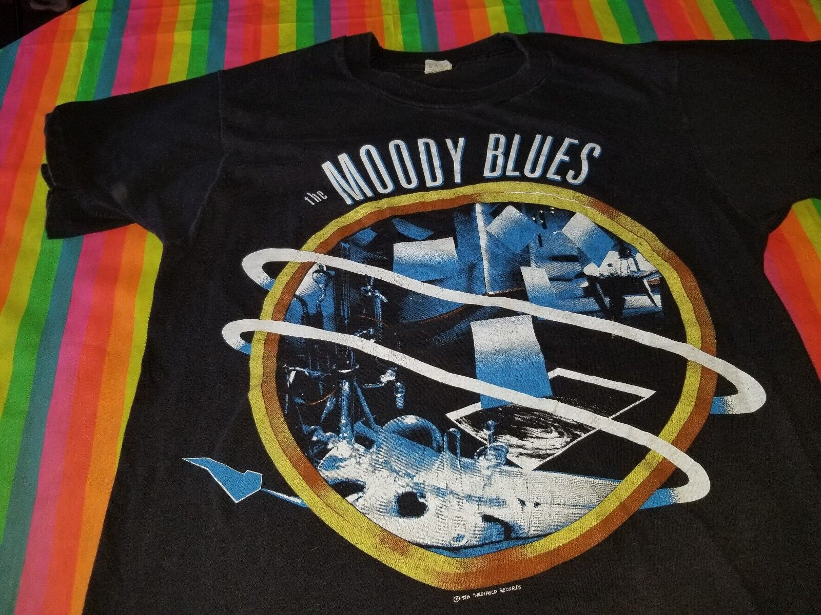 THE MOODY BlauS LIVE IN CONCERT TEE SHIRT 80S LARGE SOFT