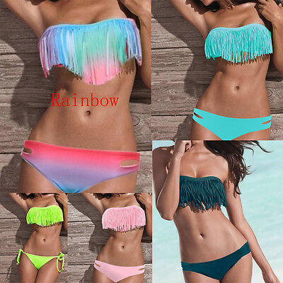 Women's Sexy Bandeau Tassel Lady Bikini Set Padded Push Up Bra Swimwear Swimsuit