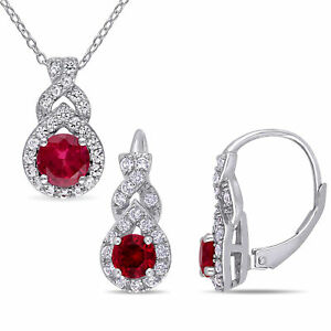 Amour Silver Created Ruby and Created White Sapphire Necklace and Earrings Set