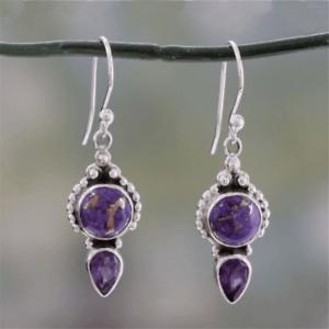 Natural Purple Agate Drop Dangle Hoop 925 Silver Earrings Women Vintage Jewelry