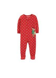 NWT-Carter-039-s-Baby-Girl-Microfleece-Polka-Dot-Reindeer-Footed-Pajamas-12-Months