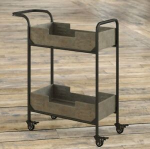 Details about Industrial Metal Bar Cart Wheeled Kitchen Cart Rolling  Beverage Serving Storage