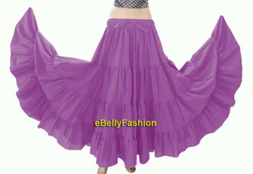 Women Cotton Gypsy 4 Tiered 12 Yard Skirt Belly Dance Flamenco Tribal Jupe