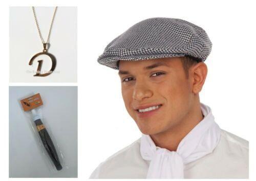 Del Boy Hat Mens Fancy Dress Costume Flat Cap Chequered Costume Cigar Necklace