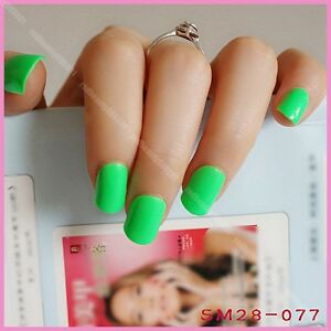 Image Is Loading Plastic Nail Art Tips Shiny Green Acrylic Nails