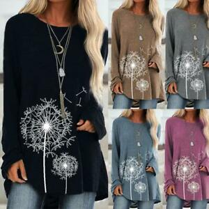 Women-039-s-T-shirt-Dandelion-Printing-Round-Neck-Irregular-Long-Sleeve-Casual-Tops