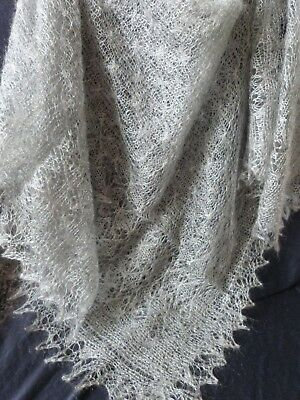Genuine Russian Orenburg Hand knitted Wool Lace Shawl Scarf Snow Frost Design