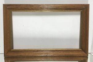 VTG-Mid-Century-Arts-and-Crafts-OAK-Picture-Frame-Fits-10-034-x-18-034