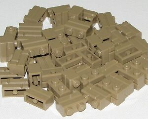 LEGO LOT OF 50 NEW 1 X 2 DARK TAN MASONRY PROFILE BUILDING BLOCKS BRICKS