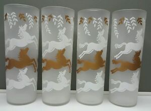 MCM-set-of-4-Libbey-frosted-white-and-gold-tall-ice-tea-glasses-UNUSED