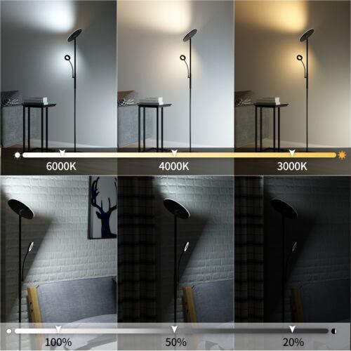 LED Stehleuchte Dimmbar Stehlampe mit Fernbedienung Touch Deckenfluter Leselampe