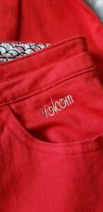 Volcom Rojo Para Mujer Skinny Jeans Pantalones Sz 3 Inca Patinadora Girl Ebay