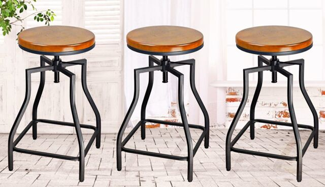 Adjustable Metal Bar Stool With Wood Seat Set Of 3 Brown Height