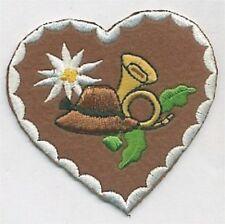 Alpine Edelweiss Flower Heart Embroidery Patch