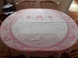 """HERITAGE LACE IVORY LAST SUPPER """"EASTER TIME"""" 70"""" ROUND TABLECLOTH ITEM 6054"""